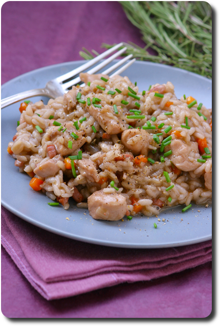 risotto au lapin et vin rouge en vue du salon du blog culinaire 4 savoirs et saveurs. Black Bedroom Furniture Sets. Home Design Ideas