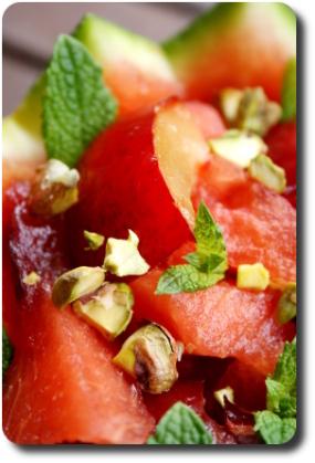Salade de past que aux pistaches drink ultra rafra chissant savoirs et saveurs - Salade de pasteque ...